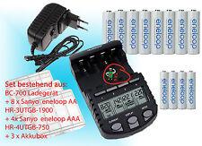 BC700 Schnell-Ladegerät + Eneloop Panasonic Akkus 8x AA + 4x AAA + 3 Akku Boxen