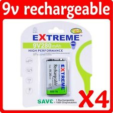 4 x 9V 280mAh Ni-MH rechargeable batteries PP3 R22