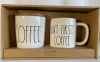 Rae Dunn (COFFEE) Canister & (BUT FIRST COFFEE) Mug Gift Set