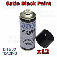 12 x Satin Black Gloss Spray Paint Can Aerosol 400ml