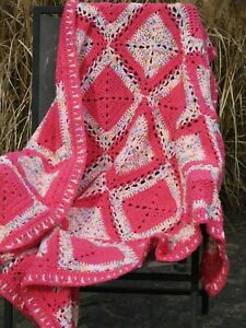 Hand Crocheted Baby Afghan, Throw, Blanket, Pink and White Squares, Rainbow
