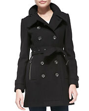 NWT New BURBERRY Daylesmoore Wool blend Trench Coat Black US 12 UK 14 $1295