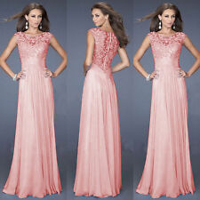Pink Women Formal Wedding Bridesmaid Long Evening Ball Prom Gown Cocktail Dress