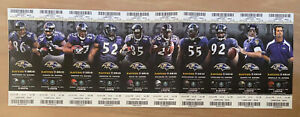 2010 NFL BALTIMORE RAVENS FULL UNUSED FOOTBALL ENTIRE HOME SEASON TICKET SHEET