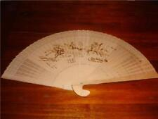 Vintage  hand carved heat engraved wood large wall decor fan