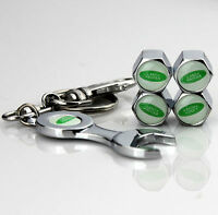 4x Car Tyre Stems Air Cover Valve Caps + Wrench Keychain Key ring For Gift NEW
