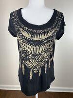 Lucky brand women's size medium M top shirt brown southwestern short sleeve