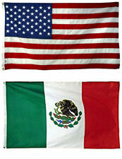 3x5 3'x5' Wholesale Combo USA American & Mexico Mexican 2 Flags Banner Grommets