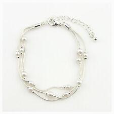 Bracelet Multirang Petit Perle Argenté Class Vintage Mariage CT4