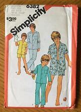 Uncut Simplicity Pattern 6382 Teen Boy Size 18 & 20 Pajamas PJs Shorts Pants