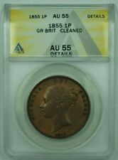 1855 Great Britian 1 Penny Copper ANACS AU-55 Details Cleaned