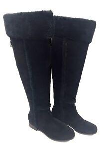 Woman Boots Black Leather BCBGMAXAZRIA 37 Fr / 7 US