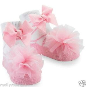 Baby Girl Mud Pie Pink & White Ballerina Tulle Puff Socks
