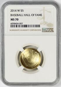 2014-W $5 Gold Baseball Hall of Fame Commemorative NGC MS70