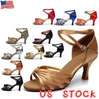 US Womens Ladies Prom Waltz Salsa Latin Satin Ballroom Tango Heeled Dance Shoes