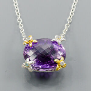 45ct+ Handmade Amethyst Necklace 925 Sterling Silver  Length 18.5/N05848