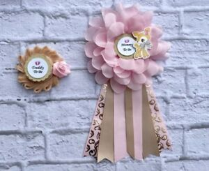 Pink/ Gold /Tan Bambi Baby Shower Corsage ,Mommy To Be &Daddy To Be Corsage
