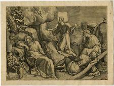 Rare Antique Master Print-RELIGION-CHRIST-GETHSEMANE-Broeck-1576