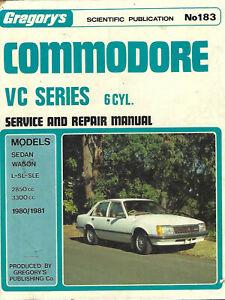 COMMODORE VC 6 Cyl. Service & Repair Manual Gregorys No183 2850 / 3300cc 1980 81
