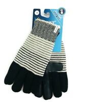 Isotoner Womens One Size Winter Gloves Black Knit Faux Sherpa Lined Smart Touch