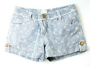 Miss Me Women's Size Medium Embroidered Tweed Shorts Blue and White