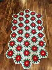 Vtg Christmas Blanket Crochet Granny Afghan 3D Red Poinsettia Flowers 35x64 inch