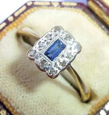 Antique Art Deco 18ct Gold, Platinum, Emerald Sapphire & Diamond Ring, Size O
