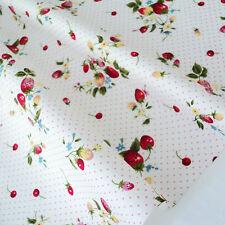 Fresa Bouquet-Marfil Blanco Pink Dots tejido de algodón por M Patchwork