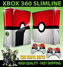 XBOX 360 SLIM STICKER POKEBALL POKEMON GO SKIN & 2 X PAD SKIN