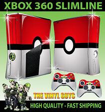 XBOX 360 SLIM STICKER POKEBALL POKEMON GO SKIN & 2 X PAD SKIN