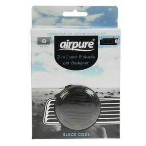1X AIRPURE 2 IN 1 BLACK CODE CAR AIR FRESHENER AIR VENT & SUN VISOR LONG LASTING