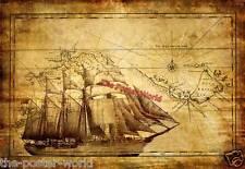Vintage Pirate Ship with Treasure Map Sea Ocean Gloss Poster Wall Art Print New