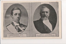 Vintage Postcard King Alfonso XIII of Spain & President Loubet of France