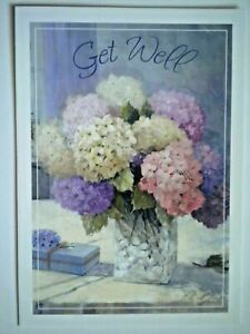 "HYDRANGEAS IN VASE ""GET WELL"" GREETING CARD + DESIGNER ENVELOPE"