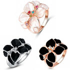 Enamel Flower Design with Colorful Crystal Cocktail Ring 18K Rose Gold Plated