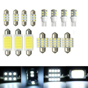 14 x White Car Interior COB LED Lights Package Kit T10 & 31mm 42mm Bulbs Lamps P