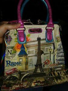 Nicole Lee Satchel Handbag purse Slide Closure Paris Rome Unused