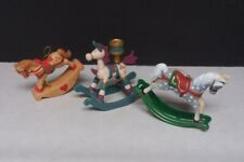 3 Rocking Horse Christmas Decor Figurines Ornaments & Candle Holder