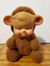 VINTAGE RUBBER FACE PLUSH POUTING SAD TEDDY BEAR TOY KNICKERBOCKER USA