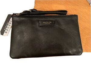 BNWT Jaeger London Black Leather Wristlet Pouch