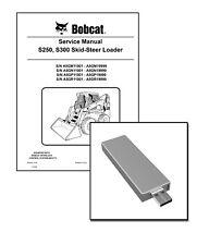 Bobcat S250 S300 Skid Steer Loader Repair Service Manual USB Stick + Download