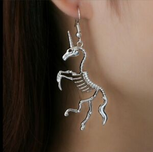 3D Gothic Unicorn Skeleton Earrings Antique Tibetan Silver 👻🧲 (1) Pair