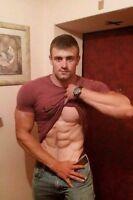 Shirtless Male Muscular Beefcake Hot Jock Hunk Abs Peek PHOTO 4X6 F209