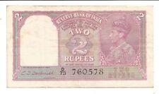 British India Rs 2, XF Note, Inset Plain, Prefix D, Signed C D Deshmukh,