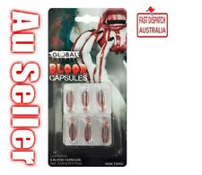 Fake Blood Capsules 6pk Set Global Colours Make Up Special FX Non-Toxic