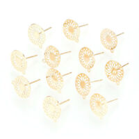 10pc Real Gold Plated Brass Flower Stud Post Dangle Earring Flat Round 12.5x11mm