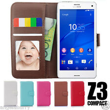 Premium Slim PU Leather Flip Wallet Case For Sony Xperia Z3 Compact