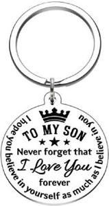 To My Son Inspirational Gift Keychain from Dad Mom Never Forget That I Love You
