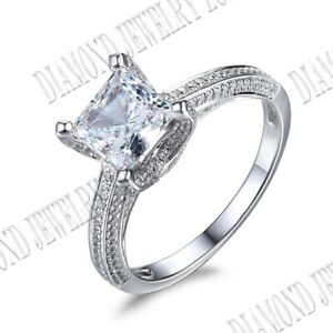Cushion 7mm 4ct Cubic Zirconia Engagement Party Ring 10K White Gold Fine Jewelry