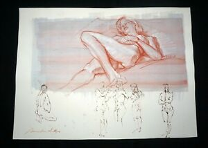 Hawaii Mixed Media Wash Painting Sleeping Female Nude Snowden Hodges (Sho)#109